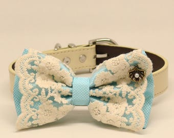 Blue Lace dog bow tie collar, Puppy Gift, Pet accessory, Country Rustic wedding, Seashell, something blue