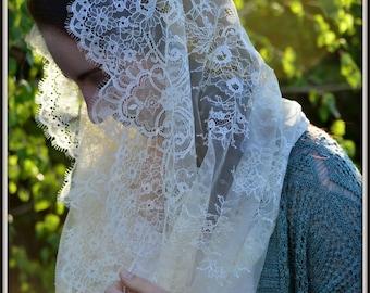 Lace Infinity Veil ~  FLV3 - Catholic Mantilla, in Cream