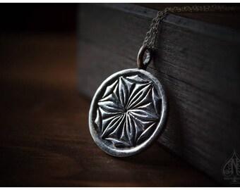 Daisy Wheel pendant hexafoil six petal flower rosette witch mark