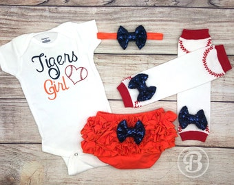 Tigers Girl Game Day Outfit, Tigers Baseball Baby Girl Clothes, Detroit Tigers Baby Bodysuit, Detroit Tigers Baby Outfit