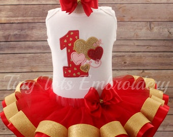 Valentine's Birthday Outfit ~ Valentine Tutu Outfit ~ Includes Top, Ribbon Tutu and Hair Bow~ Can Customize In Any Colors of Your Choice