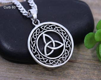 Celtic knot pendant etsy sterling silver celtic knot necklace triquetra knot celtic jewelry mens knot necklace unisex mozeypictures Gallery