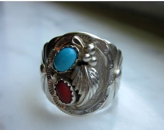 Sterling turquoise ring 925 turquoise ring silver turquoise Navajo ring vintage jewelry coral ring sterling Native American ring clearance