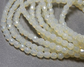 Lemon Chiffon 4mm Faceted Fire Polished Glass Czech Round Beads (50) 101
