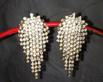 Vintage Rhinestone Drop Clip-on Earrings Bridal wear Catwalk Showgirl Art Deco