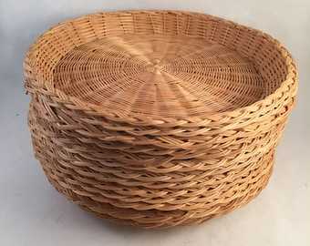 Set of 13 Retro Wicker Paper Plate Holders Natural Color 9-3/ : heavy duty wicker paper plate holders - pezcame.com