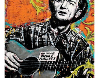 Woody Guthrie - Bound for Glory- 12 x 18 High Quality Art Print