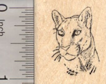 Cougar Portrait Rubber Stamp, Small D25107 Wood Mounted