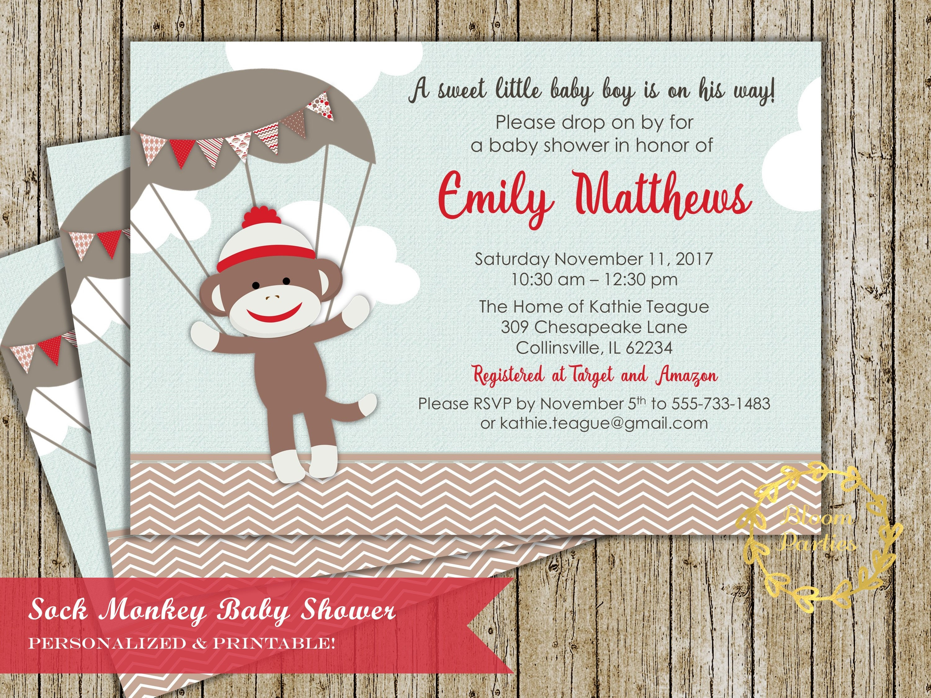 Sock Monkey Baby Shower Baby Boy Shower Invitations Sock