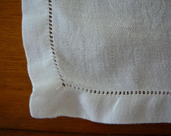 Vintage table linen napkins, set of 5, white with woven design