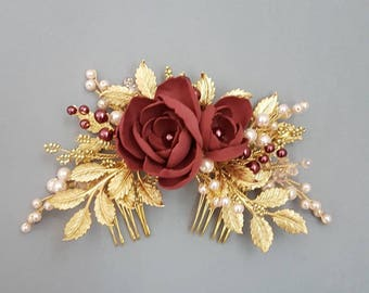 Burgundy flowers Gold Bridal hair comb, Gold Bridal headpiece with burgundy flowers, Bridal hair piece, Wedding hair piece, Bridal hair comb