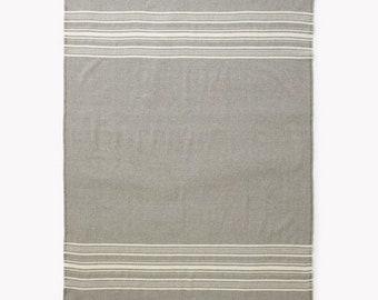 """Faribault Weekender Stripe Wool Throw - Throw 54""""x72"""" / Silver Heather/Natural Vintage camp blanket"""