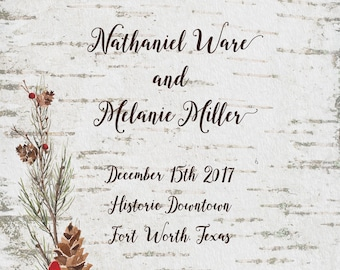 Birch Invitation with Woodland Pinecones and Evergreens, Wedding, Announcement, Engagement, Couples, Save the Date, 5x7 printed 2 sides