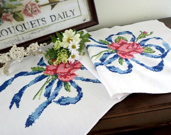 Embroidered Vintage Table Runner or Dresser Scarf, Pink and Red Roses with Blue Ribbons, Sweet Cottage Decor, Vintage Linens