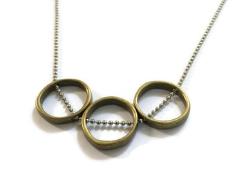 Bronze circles with silver chain necklace