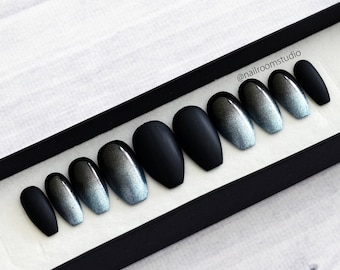 OMBRE BLACK and princess blue silver press on nails | matte or glossy finish | fake nails | glue on nails | gothic witchy design | glitter