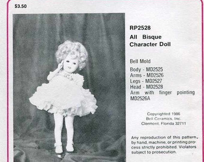 "FREE usa SHIP Bell Ceramics 2528 12"" All Bisque Character Doll Clothes Wardrobe 1986 Craft Out of Print Old Store Stock Sewing Pattern"