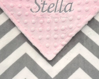 Personalized Baby Blanket, Custom Baby Blanket - Embroidered Unisex Baby Blanket, Monogrammed Gift for Baby, Gray Chevron Minky Baby Blanket