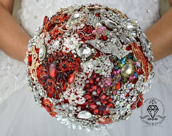 Red wedding bouquet silver red bouquet bridal silver brooch bouquet jewellery brooch bouquet bridesmaid Bouquet bloodstone jewelry bouquet