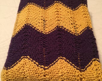 Purple and Gold Chevron Blanket