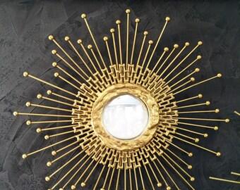 Gold Sputnik Mirror, Starburst Mirror, Sunburst Mirror #1010 Handmade mirror, Atomic starburst, mid century modern, silver mirror