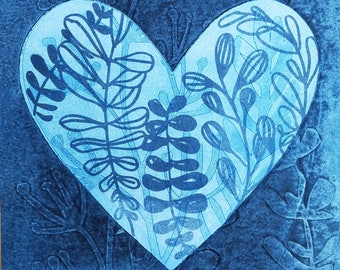 Indigo Heart, 3 - monotype base with polyester lithography layer * Valentine's Day * OOAK original hand-pulled print