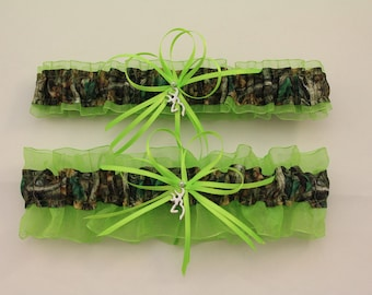 Lime Green and Camouflage Wedding Garter with Deer Deco, Mossy Oak,  Camo Garter Set, Bridal Garter, Prom    (Your Choice, Single or Set)