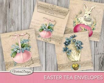 Printable Easter Tea Bag Envelopes easter decorations diy paper craft digital download instant download digital collage sheet - VDTEEA1091