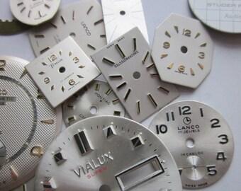 20 Vintage Watch Faces, 'Snow Cloud' Mix, White + Silver Watch Faces