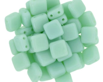 30 6 mm OPAQUE PALE JADE CzechMates Tile beads