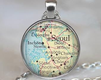 Seoul map pendant, Seoul map necklace map jewelry Seoul South Korea pendant Seoul necklace map jewellery key chain key ring key fob