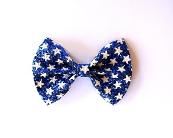 Patriotic Stars in White on Navy Glitter Bow Clip Adorable Photo Prop Pictures Headband for Newborn Baby Little Girl Child 4th of July Bow