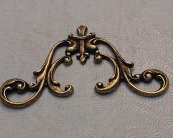 LuxeOrnaments Oxidized Brass Filigree Art Nouveau Style Connector 40x22mm (1 pc) F-A14037-B