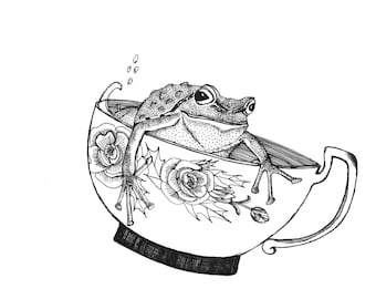 pacific northwest tree frog riding in a china teacup for inktober illustration black ink on paper  6 x 6