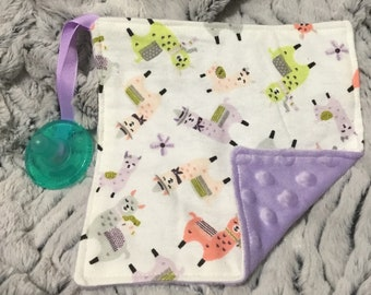 Llamas Binky Buddy, pacifier holder, purple, minky, baby shower gift, new mom gift