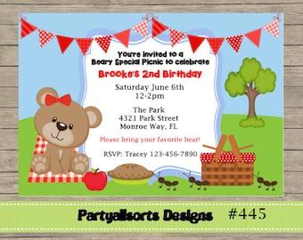 DIY - oso de peluche Picnic invitaciones rojo