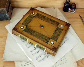 "Medieval Style Leather Journal, Jewelled Book with Quartz Stones - ""Sapphire Dreams"""
