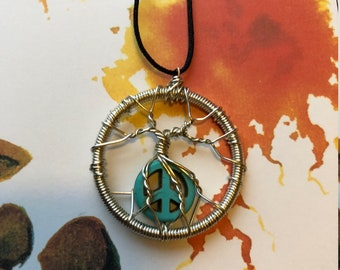 Peace Sign Tree of Life pendant