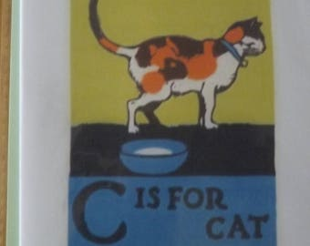 C is for Cat. Blank Greetings Card. Vintage picture. Just a pretty card.