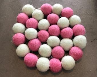 Felt ball garland, felt ball garland mint, pom pom garland, pom pom decor, pom pom nursery, mint nursery, felt ball garland pink, mint decor