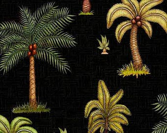 Palm Trees, Tropical Trees, Jungle Trees - Caravan by Dan Morris for Quilting Treasures 26181 Black - Priced by the 1/2 yard