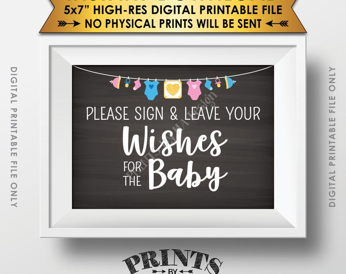 """Wishes for Baby Sign, Please Sign & Leave your Wishes for the Baby Shower Sign, Baby Wishes 5x7"""" Chalkboard Style Printable Instant Download"""