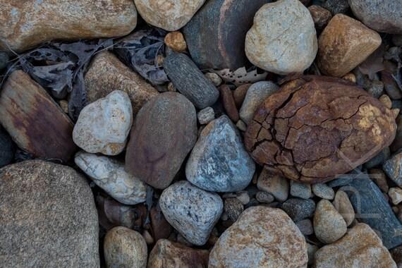 Fractured beach stones, Quabbin Reservoir, Massachusetts