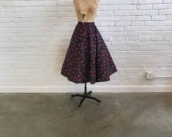 1950s Atomic Print Skirt // 50s Full Swing Skirt // Vintage 1950s Sputnik Stars Pink Purple White Black Skirt