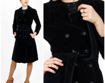 Sleek Vintage 1970s Black Velvet Double-breasted Belted Trench Coat by Joseph's/Drizzle | XS