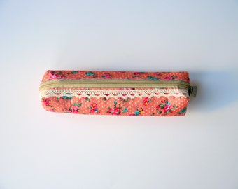 Peach Floral Pencil Case