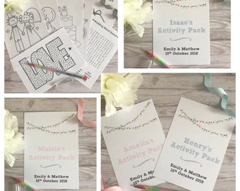 Children's Personalised Wedding Activity Pack Fairy Lights Favour A6 White