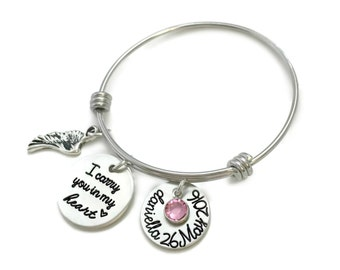 I Carry You In My Heart Pewter Loss Memorial Remembrance Miscarriage Bangle Bracelet- Hand Stamped Jewelry - Personalized Jewelry