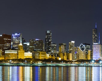 Chicago Autism Awareness Light It Up Blue Skyline Canvas Wrap