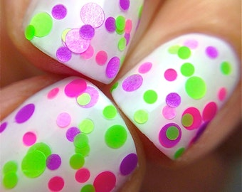 Sassy- Polka Dot-NEON-Custom-Blended Indie Glitter Nail Polish / Lacquer